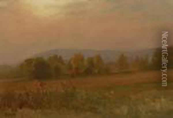 Autumn Landscape, New England Oil Painting - Albert Bierstadt