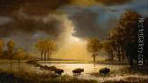 Study For 'the Buffalo Trail' Oil Painting - Albert Bierstadt