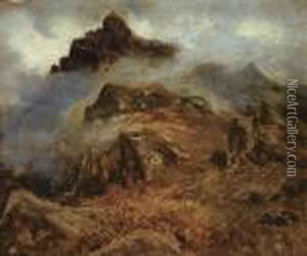 Study Of Rocky Mountains Oil Painting - Albert Bierstadt