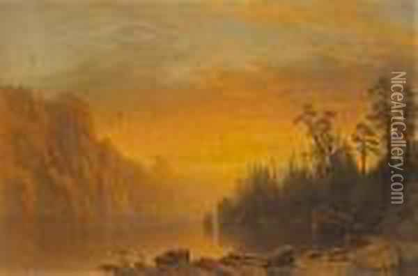Sunset (california Scenery) Oil Painting - Albert Bierstadt