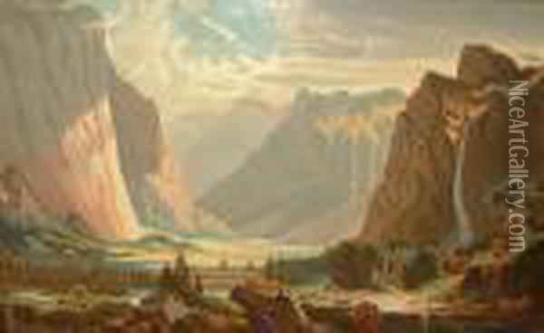 Figures On Horse Back By A River Running Through A Canyon Landscape Oil Painting - Albert Bierstadt