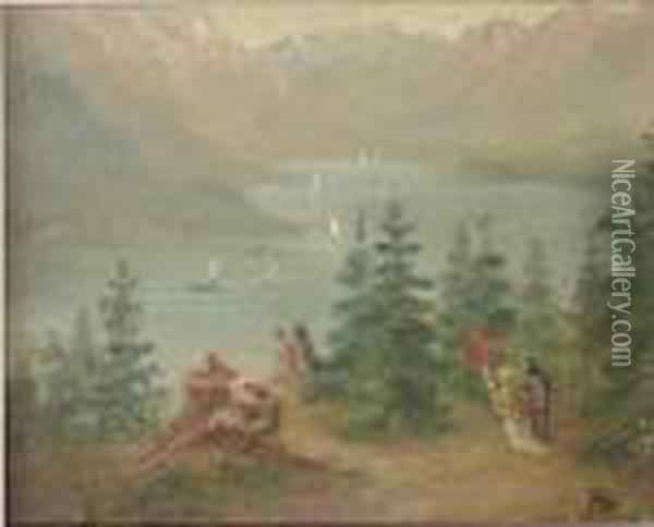 Landscape With River Oil Painting - Albert Bierstadt