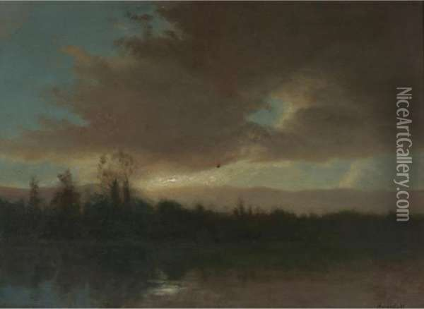 Evening Sky Oil Painting - Albert Bierstadt