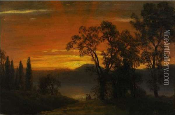 Sunset Over The River Oil Painting - Albert Bierstadt