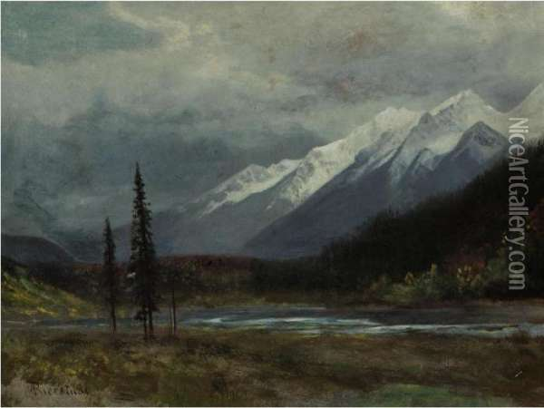 Mountain Landscape With Lake Oil Painting - Albert Bierstadt