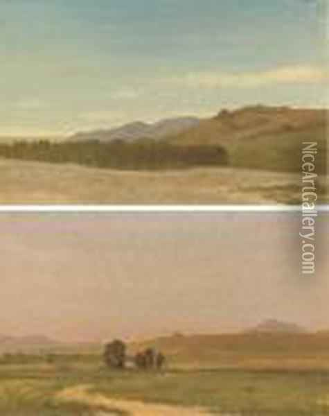 The Plains Near Fort Laramie; And Nebraska, On The Plains: A Pairof Works Oil Painting - Albert Bierstadt