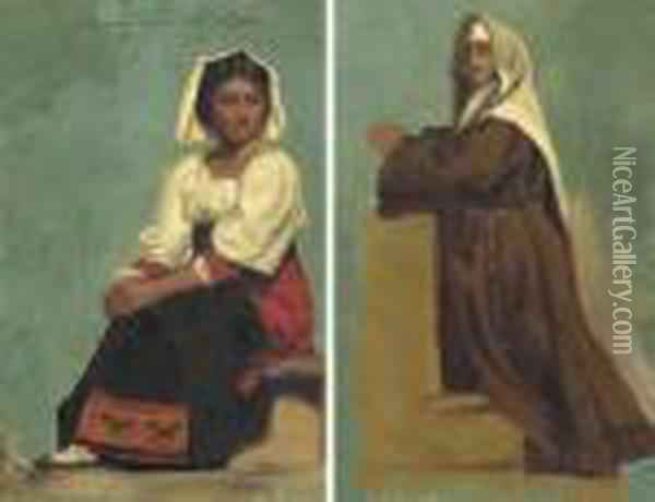 Costume Study Of A Seated Woman Oil Painting - Albert Bierstadt