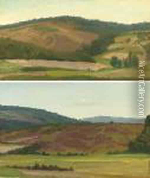 Landscape With Cottage,  Westphalia, Germany; And Rolling Hills,westphalia, Germany: Two Works Oil Painting - Albert Bierstadt