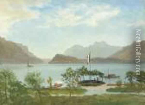 Boating On The Lake, Northern Italy Oil Painting - Albert Bierstadt