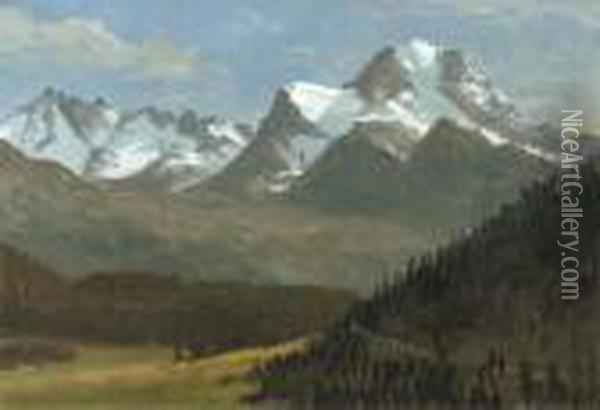 Mountain Landscape Oil Painting - Albert Bierstadt