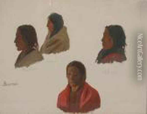 Study Of Indians, Fort Laramie Oil Painting - Albert Bierstadt