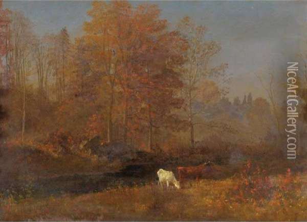Landscape With Cows Oil Painting - Albert Bierstadt