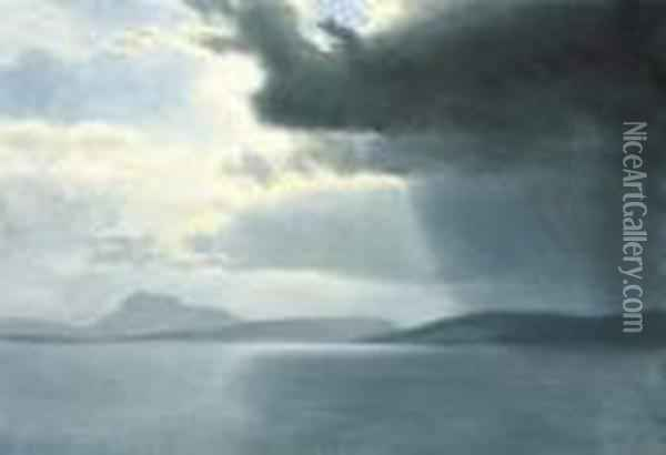 Approaching Thunderstorm On The Hudson River Oil Painting - Albert Bierstadt