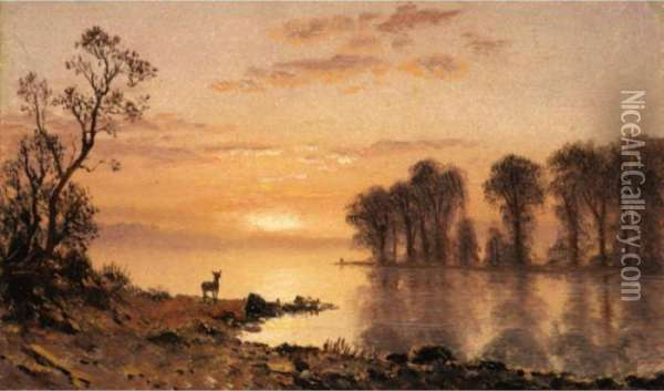 Sunset Oil Painting - Albert Bierstadt
