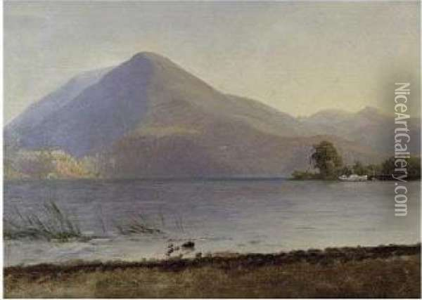 On The Hudson Oil Painting - Albert Bierstadt