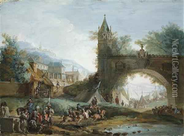 A Landscape With Mounted Soldiers And An Arched Bridge Oil Painting - Giuseppe Bernardino Bison