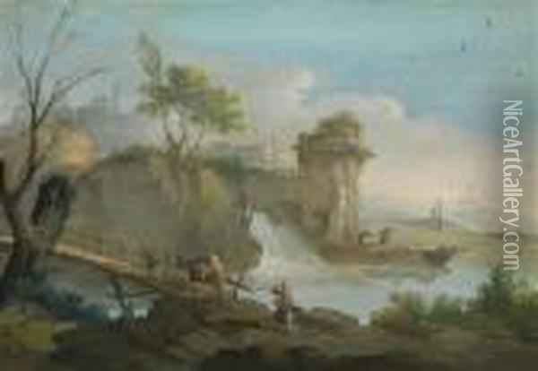 A Landscape With Travellers And Awaterfall Oil Painting - Giuseppe Bernardino Bison