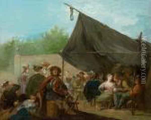 An Outdoor Banquet, With A Hurdy-gurdy Player Oil Painting - Giuseppe Bernardino Bison