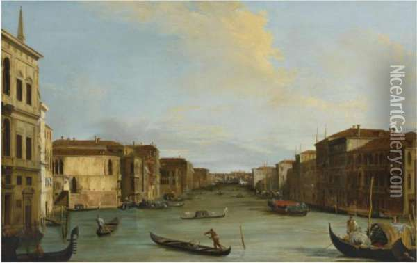 View Of The Grand Canal, Venice,  Looking Northeast From The Palazzo Balbi To The Rialto Bridge Oil Painting - Giuseppe Bernardino Bison