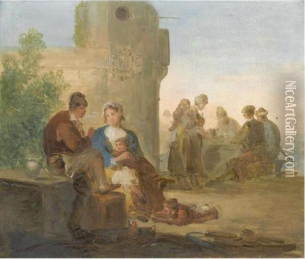 A Landscape With Peasants Resting Outside A Tavern Oil Painting - Giuseppe Bernardino Bison
