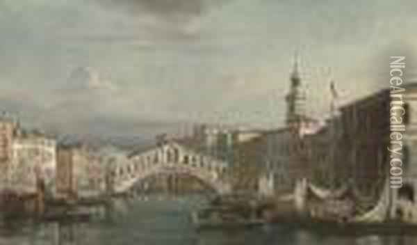 The Grand Canal Oil Painting - Giuseppe Bernardino Bison