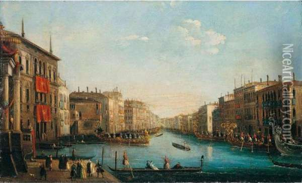 Venice, A View Of The Grand Canal With A Regatta Oil Painting - Giuseppe Bernardino Bison