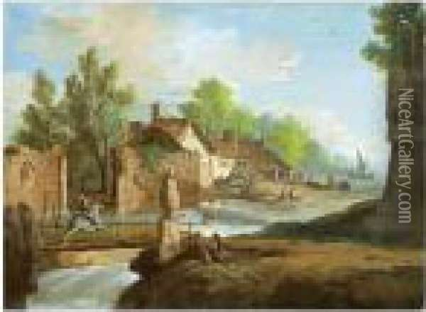 A River With Small Waterfalls Winding Through A Village Past A Ruined Wall Oil Painting - Giuseppe Bernardino Bison