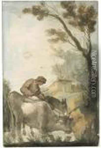 A Shepherd Crossing A Ford With A Cow And A Donkey, A Farmhousebeyond Oil Painting - Giuseppe Bernardino Bison