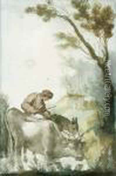 A Shepherd Crossing A Ford With A Cow And A Donkey Oil Painting - Giuseppe Bernardino Bison