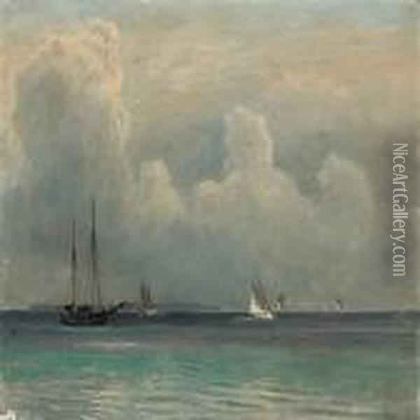 Seascape With Sailing Ships In The Great Sound Oil Painting - Christian Vigilius Blache