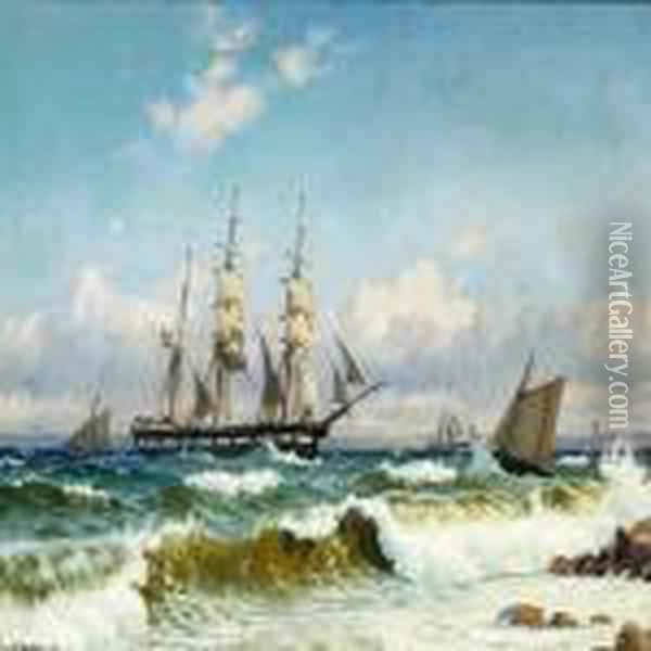 Bark And Pilot Boat Off The Coast In Stormy Weather Oil Painting - Christian Vigilius Blache
