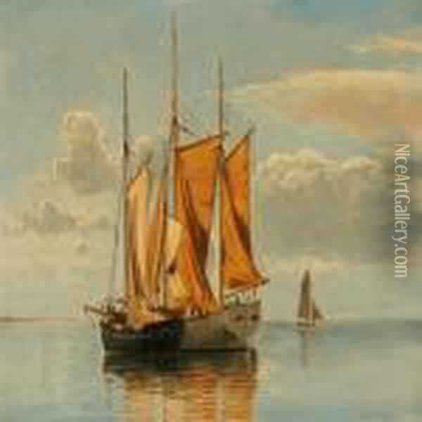 Seascape With Sailing Ships At Lynaes, Denmark Oil Painting - Christian Vigilius Blache
