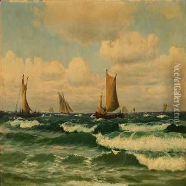 Seascape Withsailing Ships Off The Coast Of Kullen, Sweden Oil Painting - Christian Vigilius Blache