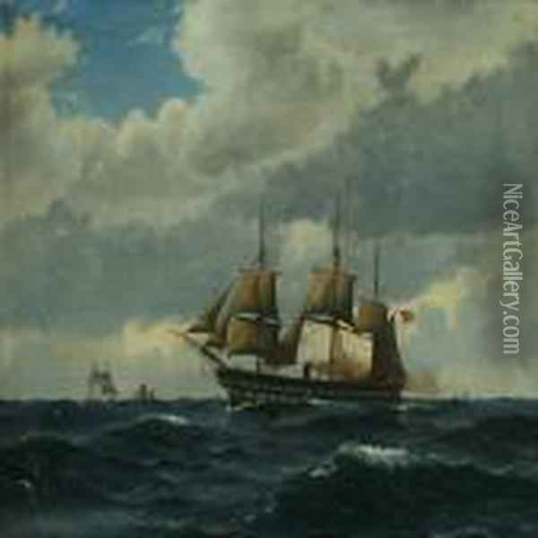 Seascape With The Frigate Sjaelland And Sailing Boats Oil Painting - Christian Vigilius Blache