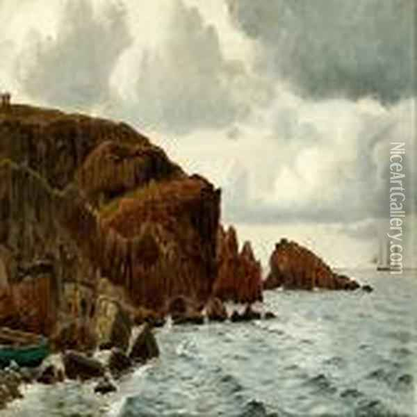 Coastal Scene Fromkullen With An Artist At His Easel Oil Painting - Christian Vigilius Blache