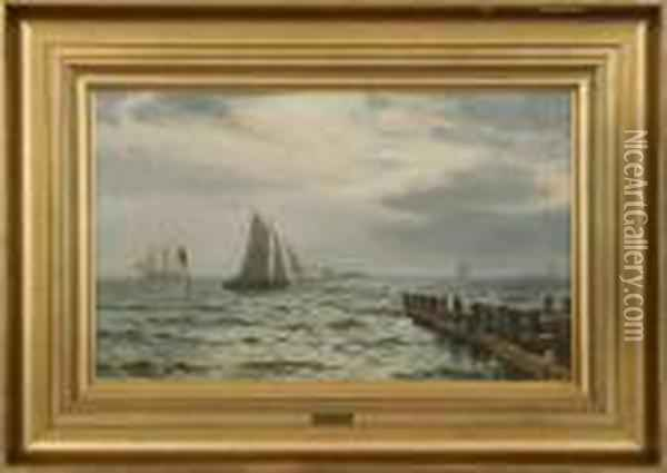 Seascape With Sailing Ships. Signed Chr. Blache, Dragor 95 Oil Painting - Christian Vigilius Blache