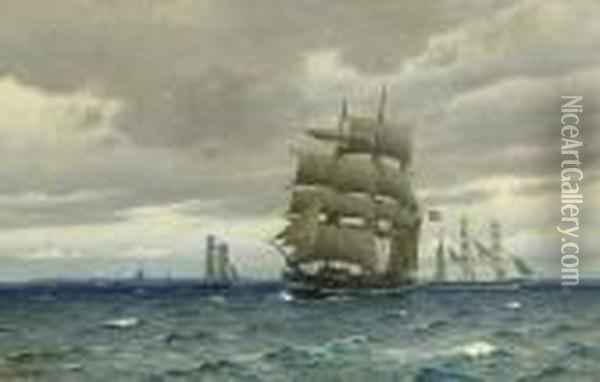 A Norwegian Windjammer And Other Commercial Sailing Vessels Off Copenhagen Oil Painting - Christian Vigilius Blache