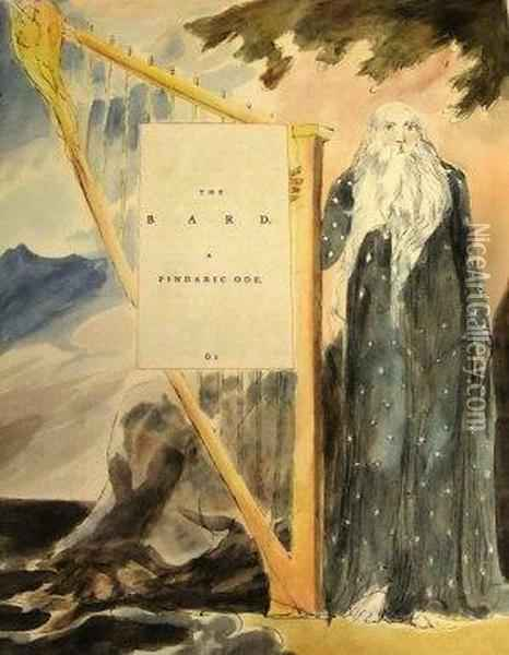 The Bard,  A Pindoric Code Oil Painting - William Blake