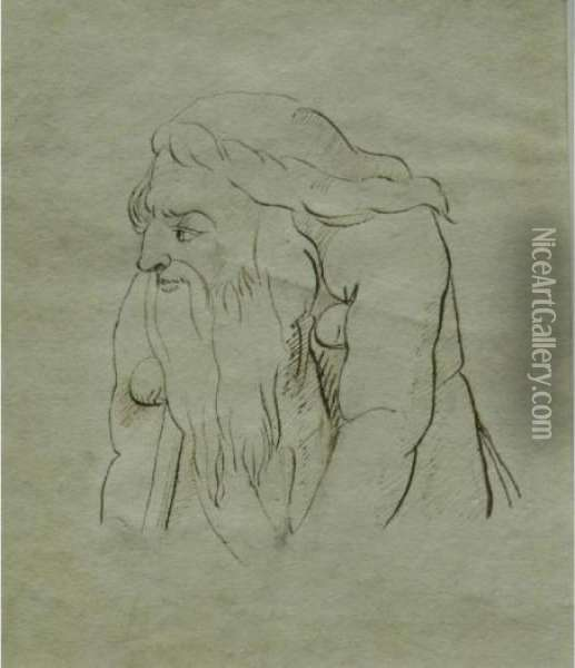 The Upper Torso And Head Of Anelderly Bearded Gentleman On Crutches Oil Painting - William Blake