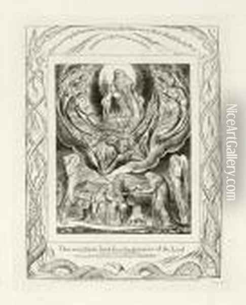 Satan Going Forth From The Presence Of The Lord Oil Painting - William Blake