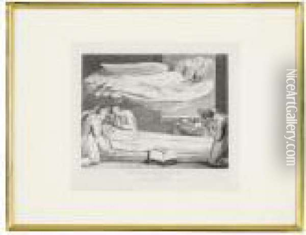 'the Grave'the Death Of The Good Old Man Oil Painting - William Blake
