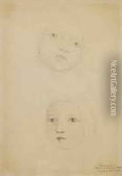 Two Studies Of A Baby's Head, Possibly A Member Of The Linnell Family Oil Painting - William Blake