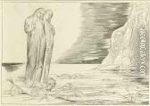 The Circle Of The Traitors: Dante's Foot Striking Bocca Degli Abbate, From Oil Painting - William Blake