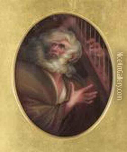 Study Of A Man With A Harp Oil Painting - William Blake
