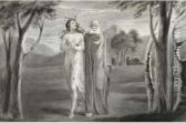 Tiriel Led By Hela Oil Painting - William Blake