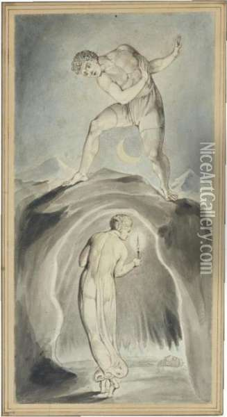Soul Exploring The Recesses Of The Grave Oil Painting - William Blake