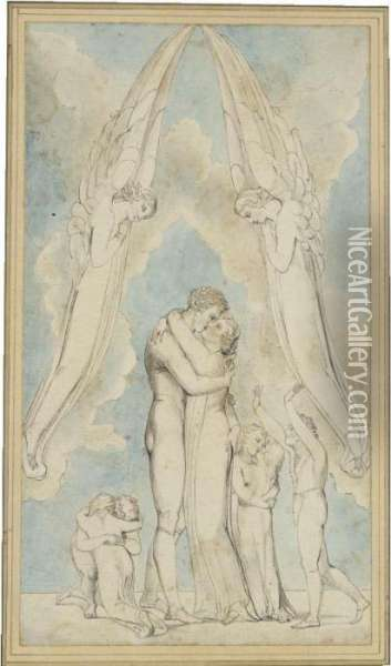 Meeting Of A Family In Heaven Oil Painting - William Blake