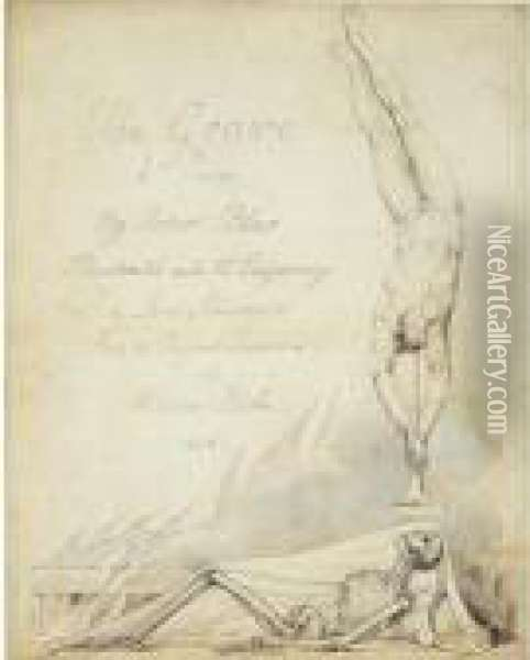 Inscribed Title-page Design For 'the Grave' Oil Painting - William Blake