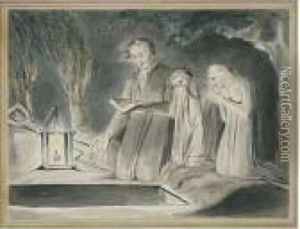A Father And Two Children Beside  An Open Grave At Night By Lantern Light Oil Painting - William Blake