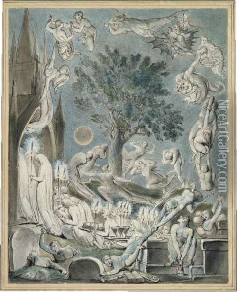 The Gambols Of Ghosts According  With Their Affections Previous To The Final  Judgement Oil Painting - William Blake